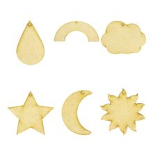 6 Weather Shapes cut from 3mm MDF Cloud Moon Raindrop Rainbow Star Sun with hole